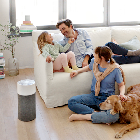 Blueair Blue 3210 air purifier in room with family